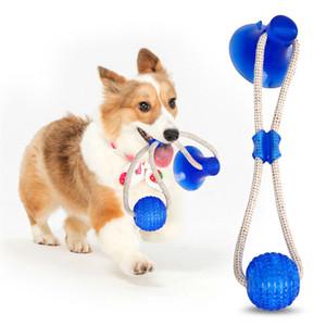 Mascota Molar mordedura de perro multifuncional Juguete Morder juguetes de goma Chew limpieza de los dientes de la bola de seguridad elasticidad suave Dental Ventosa