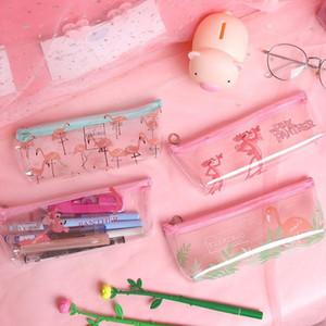 милые канцелярского мультфильм прикольного гаджет Kawaii Flamingo пенал симпатичный прозрачный для девочек мешочка офиса школьных принадлежностей эсколара