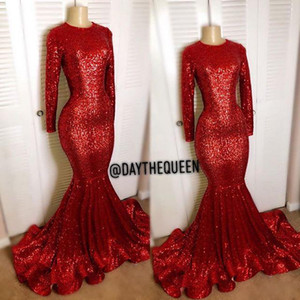 Red mangas compridas lantejoulas Vestidos Vintage 2020 Blingbling sereia alta pescoço preto da menina Prom Reflective Partido Vestidos