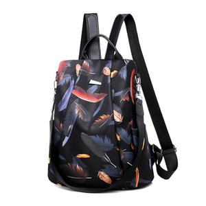 Feather Print Anti-theft Women Backpacks Ladies Large Capacity Backpack High Quality Waterproof Oxford Women Backpacks