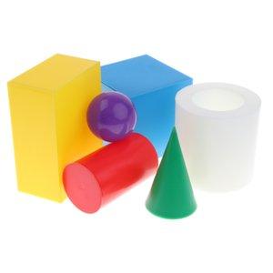 6шт ассорти пластиковые геометрические твердые тела 3-D формы математика манипулятивные дети дети раннего обучения игрушка