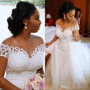 Robe de mariée sirène africaine Nigerian Avec Amovible train lacent design à manches courtes Robes de mariée Robes