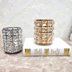 Portacandele di cristallo Cena romantica a lume di candela Candeliere Disposizione di nozze Desktop Oro Nastro Contenitore per penna a colori Creativo 13 5zs L1