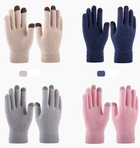 chaud polaire corail hiver gants chauds filles éponge Gants en tricot telefingers cinq sports doigt gant gants adultes cyclisme en plein air