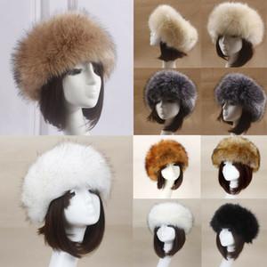 Russische Frauen flauschige Cap-Fälschungs-Faux-Pelz-Stirnband Hut-Winter-Ohr-Wärmer Ski Damen Winter-Stirnband Mithelfer