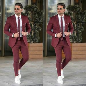 Ternos Custom Made Borgonha Brasão Pants Mens casamento do homem de negócios Blazers Noivo Blazer noivo traje smoking Homme 2piece Terno Masculino