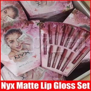 새로운 메이크업 NYX 매트 립글로스 NYX 립스틱 12PCS 세트 12 색 립 글로스 리퀴드 립스틱 화장품 선물 방수 크리스마스