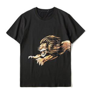 Мужская тенниска Мужчины Женщины Высокое качество Короткие рукава Мода Пары Лето Хлопок Лев печати Футболка Тис Черный