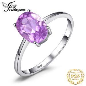 ewelry Zubehör JewelryPalace echte Amethyst Ring Solitaire 925 Sterlingsilber-Ringe für Frauen Verlobungsring Silber 925 Gemston ...