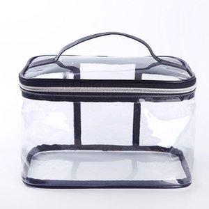 4pcs / Lot PVC transparente Cosmetic Bag Organizador do curso de Higiene Pessoal Bag Set Caso Pink Beauty Makeup Caso Esteticista Vanity Necessair