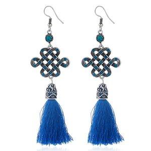 6 colori orecchini della nappa della lega della Boemia nodo cinese filo lungo nodo ciondola l'orecchino della frangia dell'orecchino gioielli di fascino per le ragazze della donna