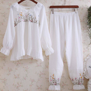 20190630 Cotton embroidered long sleeve sweet Pajama suit