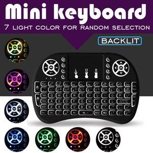 7 colores de iluminación Rii i8 mini teclado sin hilos 2.4G Fly Air ratón remoto Control de panel táctil con retroiluminación y recargable Ayuda Batería de TV CAJA