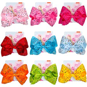 Ins Baby 8 Inch JoJo Bow Cute Bowknot Hairpin With Diamond Dot Girl Large Bowknot Barrette Colorful Bow Floral Hair Clip Accessories INS