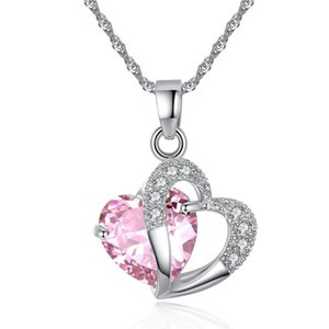 Wholesale Nice rhinestone heart pendant with water wave chain heart-shaped natural crystal pendant jewelry