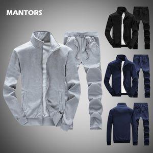 Solid Tracksuits 2020 Men Sets Sweatshirt 2 Pieces Spring Summer Men's Sportswear Set Jacket+Pants Male Casual Zipper Track Suit T200707