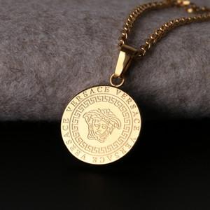 Ouro Hip Hop Titanium Aço Colar Deusa Deign Homens Populares Colar Pessoas Cabeça Pingente Pequeno Boutique Colar De Titânio