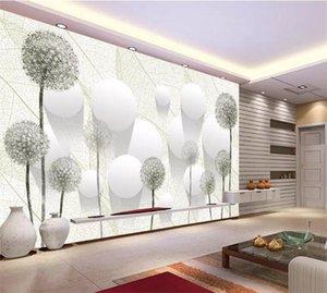 Antecedentes De Foto pared de papel bola de la flor diente de león 3D estereoscópica de la sala de TV de pared papel pintado decoración casera moderna