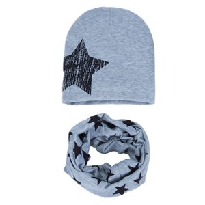 Winter Spring Baby Hat Scarf Set Cotton Boy Girl Hat Cap Big Star Print Kids Children Hats Newborn Bonnet Beanie Boys Caps