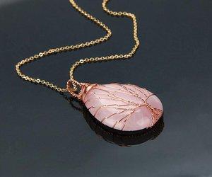 Doğal mor Kuvars Opal Taş Kolye El Yapımı Gül Altın Renk Hayat Ağacı Sarılmış Damla Şekilli kristal kolye kolye GB564