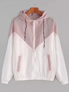 Coats Designer de Moda Womens Casacos Patchwork revestimentos encapuçados Primavera Outono das mulheres com Zipper