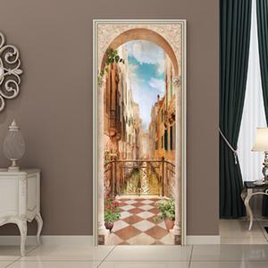 3D diy varanda roman coluna porta adesivo papel de parede mural pvc impermeável quarto sala de estar poster home decor 77 * 200 cm