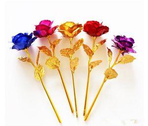 Romántico 24K Chapado en oro rosa flor dorada lámina plateada Artificial boda fiesta festiva regalo del día de San Valentín