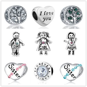 regalo del día encanto hermana chica, papá, mamá de envío MOQ 20pcs madre europeo de la caída caben pulsera original de Pandora DIY joyería para las mujeres J010