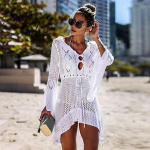 جديد مثير التستر بيكيني النساء ملابس السباحة التستر المايوه ملابس الشاطئ ملابس النساء شبكة الصيف الشاطئ اللباس تونك رداء