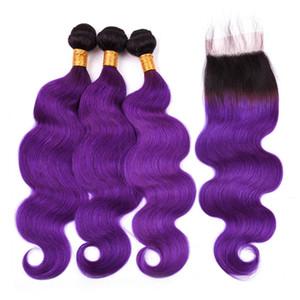 # 1B / Purple Ombre Hair Bundles Body Wave Indian Hair 3Bundles con cierre Ombre Purple Wavy Weaves con 4x4 Lace Closure 4Pcs Lot