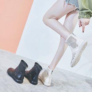 Sexy2019 2019 Сандалии Выдалбливают Вентиляция Натуральная Кожа Сетка Плоская Свободное Время Мягкий Дно Baotou Reverent Cool Boots Woman