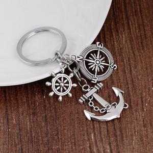 Âncora de prata Cadeia 24pcs / Lot Chaveiros Trinket Retro Compass Anchor Key Leme Chaveiro Vintage Souvenirs Chaveiros Acessórios
