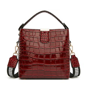 new summer patent leather handbag for women the crocodile pattern tote bag with a stylish bucket lady's bag across one shoulder