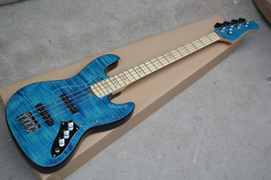 Factory Custom Blue 4-string Electric Bass Guitar with Flame Maple Veneer,Transparent Pickguard,Chrome Hardware,Offer Customized