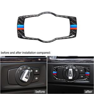 Boutons intérieurs Feuille de phare de la fibre de carbone Garniture Stickers de voiture Stickers de voitures 3 Accessoires pour BMW E90 E92 E93 2008-2012