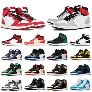 نيو الزيتون قماش شيكاغو 1 Air Jordan Retro 1 1s 1S أحذية نسائية الرجال لكرة السلة الهواءالأردنالرجعية الظل UNC ولدت المدربين الرياضية حذاء رياضة حجم 36-47