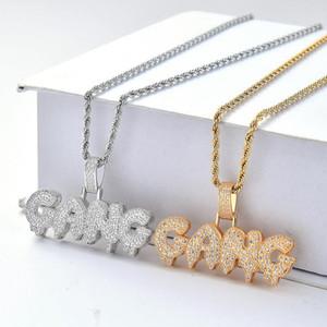 Hombres Iced out GANG Collares Bling CZ Bubble Letter Colgante Oro Plata Cadena de cuerda trenzada para mujeres Hip Hop Joyas Regalo