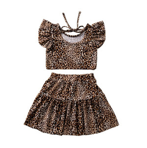 Summer Girls roupas da moda Leopard manga curta Tops camisetas Tees saia Two Piece Set Roupas Girls Dress Kids Clothing CZ403 2020