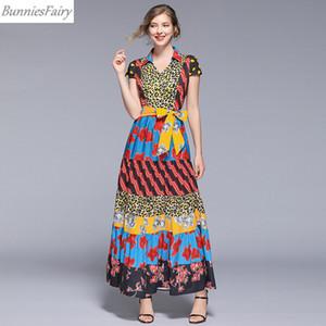 BunniesFairy 2019 Yaz Kadın Etnik Bohemian Vintage Leopar Çiçek Baskı Karışımı V Yaka Yüksek Bel Uzun Maxi Elbise Kısa Kollu