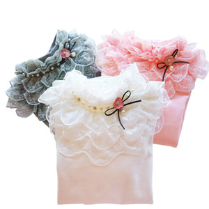 School Girl School Blouse Thermal Underwear For Children Autumn   Winter Long-Sleeve Plus Velvet Thick 100% Cotton Lace Princess Y200704
