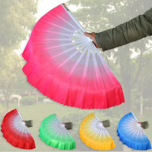 10pcs lot Free Shipping New Arrival Chinese dance fan silk veil 5 colors available For Wedding Party favor gift