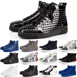 2020 дизайнерские кроссовки с красной подошвой Low Cut шипованных шипов роскошные туфли для мужчин и женщин обувь ну вечеринку свадебные хрустальные кожаные кроссовки