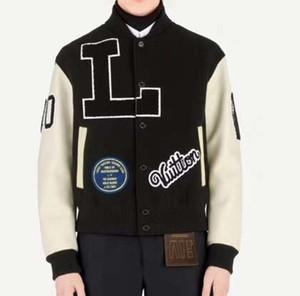 Camisa de beisebol dos homens jaqueta bomber painel das mulheres carta jaqueta bordada manga de lã de couro adolescente estudante marca tops2019 novo qq6