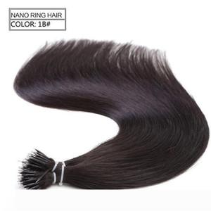 A 1g s 100s бразильский Micro Nano Loop Ring наращивание человеческих волос 100%Remy волосы прямые 18 цветов +100шт Nano кольца бусины