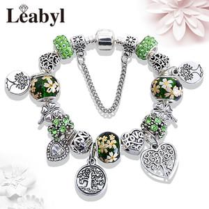 Leabyl Mix Green Tree of Life Charm Bracelet Silver Color Heart Tree Pendant Bead Bracelet Fashion Jewelry Gift for Women Child
