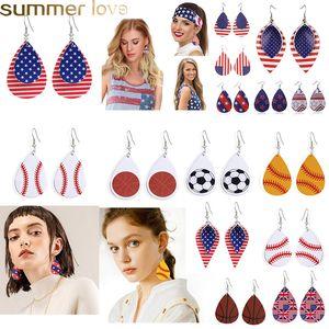 Fashion Design Baseball Sport PU orecchino in pelle UK Stati Uniti Bandiera Teardrop Printing Ciondola orecchino per gioielli donna Giorno dell'Indipendenza
