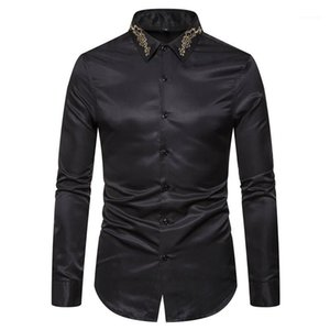 Designer Chemises Broderie Mode manches longues pour hommes Hauts Casual Mens Apparel Solid Color Mens