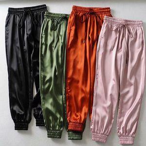 Weibliche Sommer Satin Cargo Pants Frauen Europa lose beiläufige Sport Frauen Jogger Street Cargo Pants Women