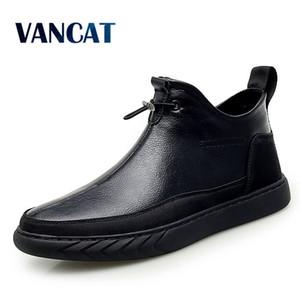 Vancat Nueva felpa Mantener caliente super hombres botas de invierno botas de goma nieve de la felpa Inglaterra tobillo para los zapatos de los hombres de invierno