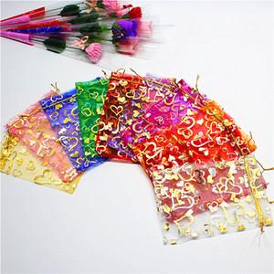 11 colori 7X9cm Aperto oro argento cuore piccolo organza borse sacchetti regalo gioielli sacchetto della caramella sacchetti dei monili, borse 500 pz HJ246